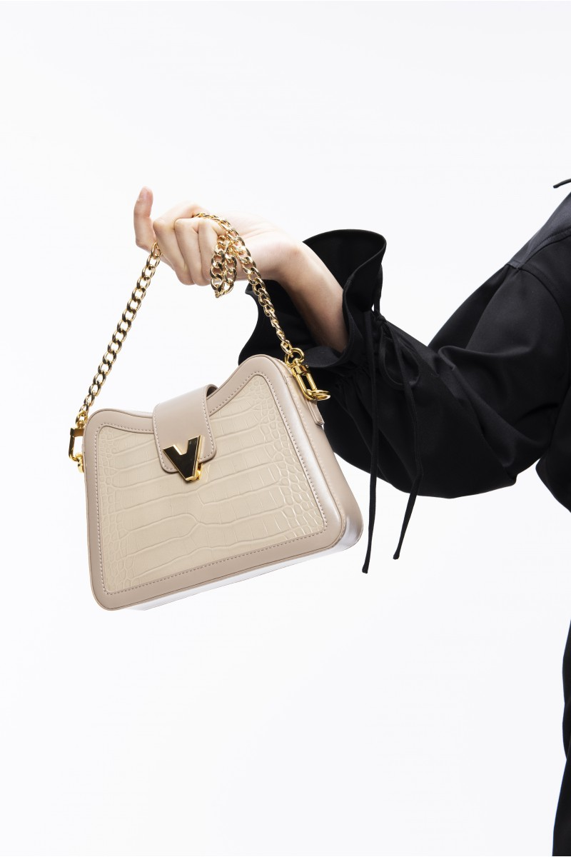 mini two-point beige shoulder bag