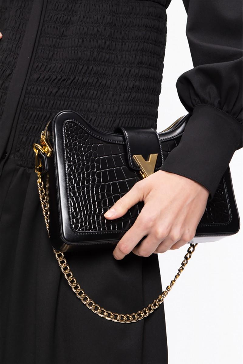 Two-Point Black Shoulder Bag