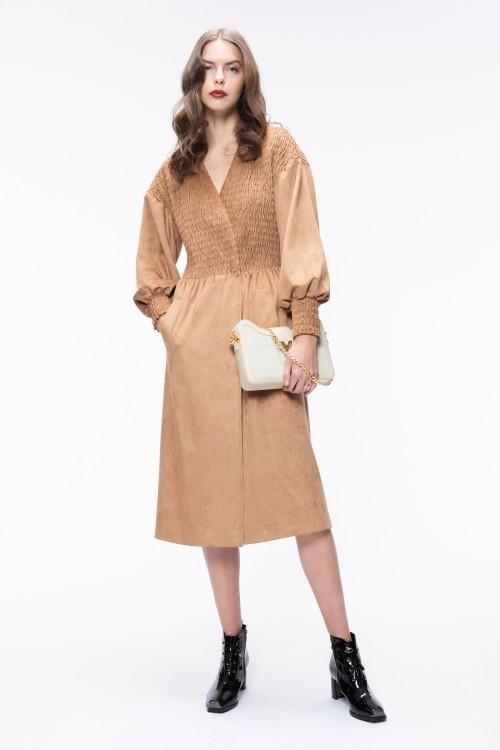 Snap Closure Shirring Suede Dress