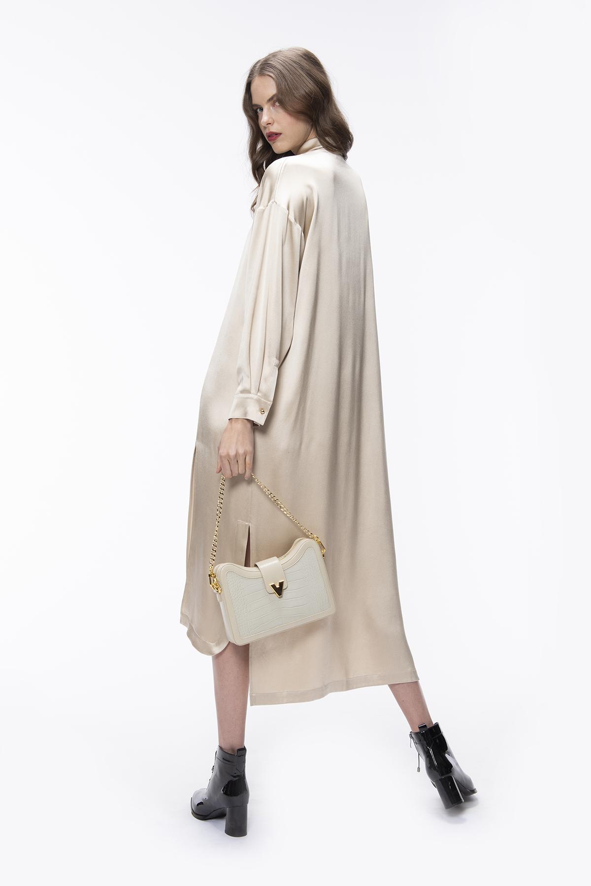 Long Silk Shirt Dress