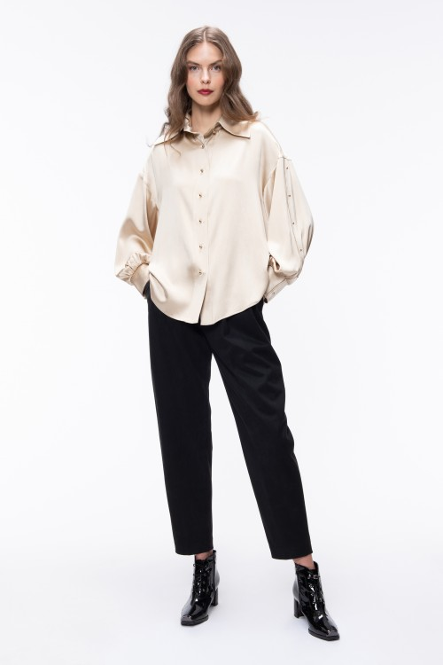 STUDS EMBELLISHED SLEEVES IVORY SHIRT