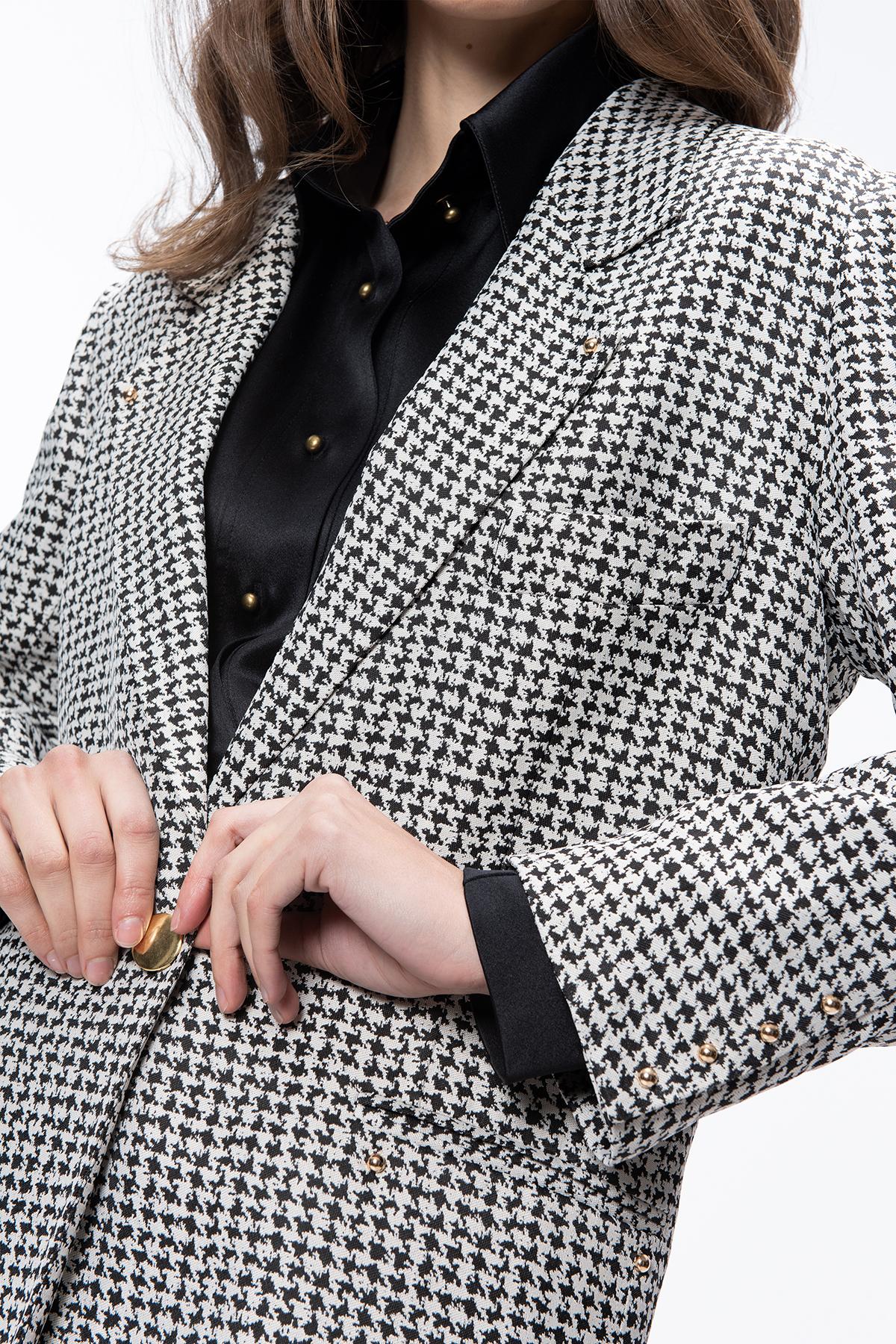 Ladies Black And White Check Coat