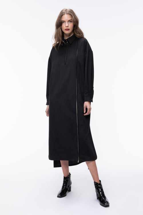 SUEDE LONG SHIRT DRESS WITH FRONT ZIPPER