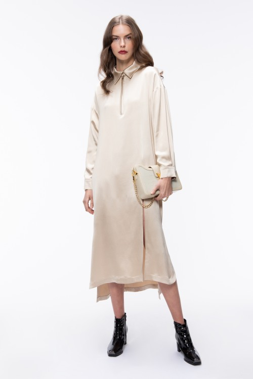 SILK LONG SHIRT DRESS