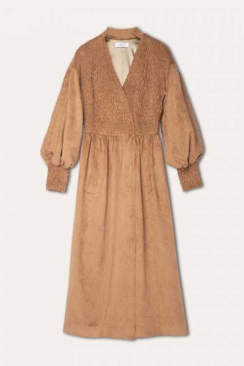 SNAP CLOSURE SHIRRING SUEDE DRESS