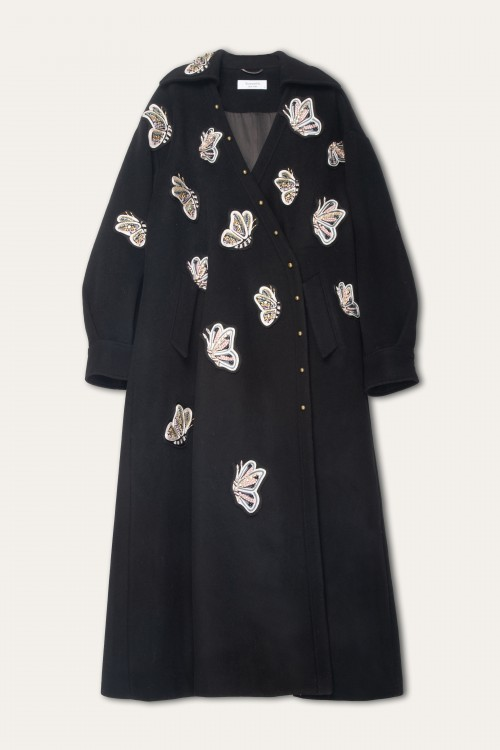 BUTTERFLY PATCHED CASHMERE COAT