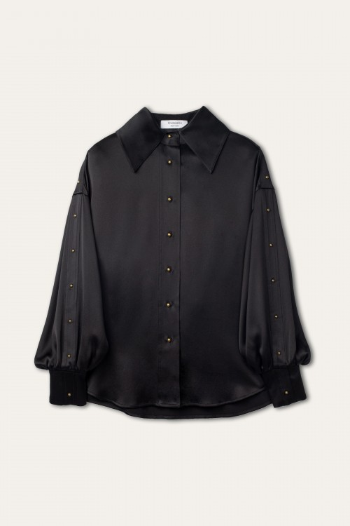 STUDS EMBELLISHED SLEEVES BLACK SHIRT