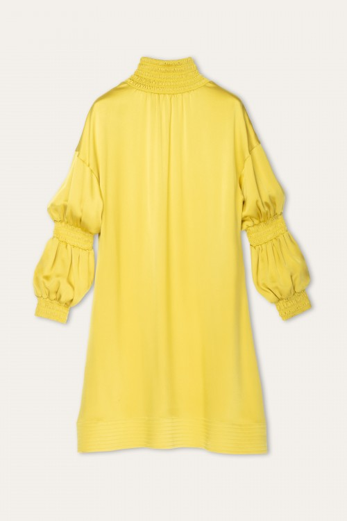 MUSTARD SILK SHIRRING DRESS