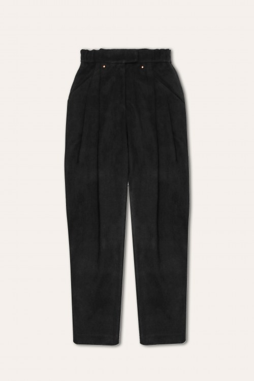 PLEATED SUEDE PANTS