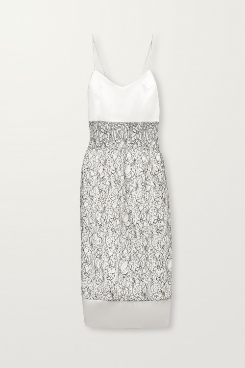 Black corded lace fitted dress