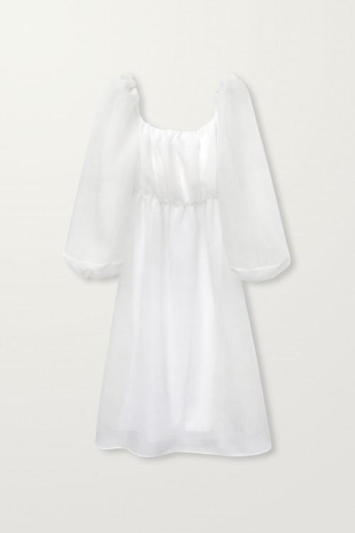 Balloon sleeve long dress