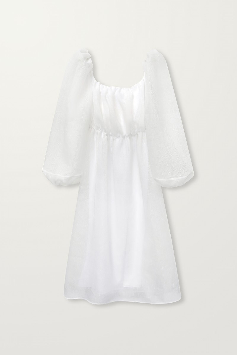 White Balloon Sleeve Dress | Long Balloon Sleeve Dress