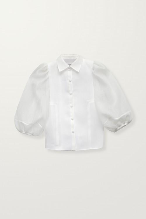 Balloon sheer sleeve shirt