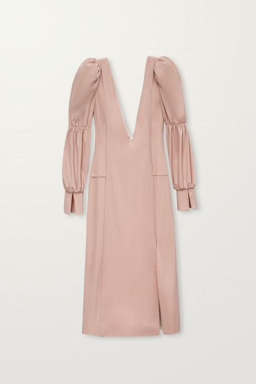Deep V-neck cupro dress