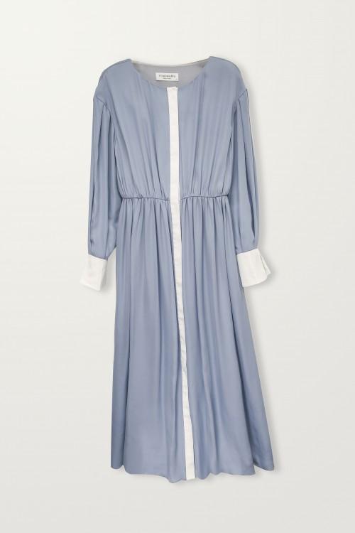 Midi shirring dress with white placket