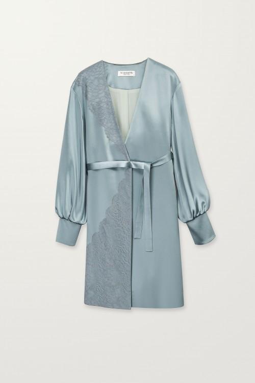 Asymmetrical turkish lace robe