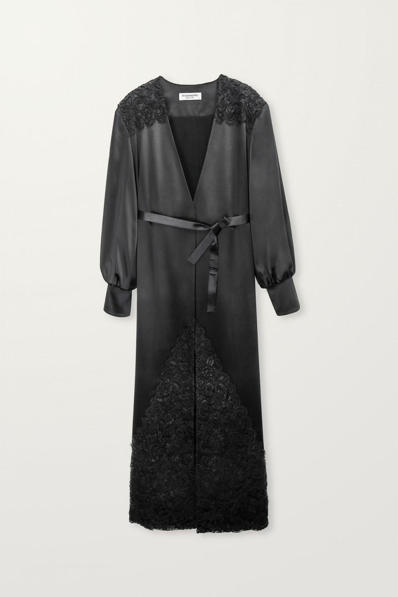 Lace embellished black long robe