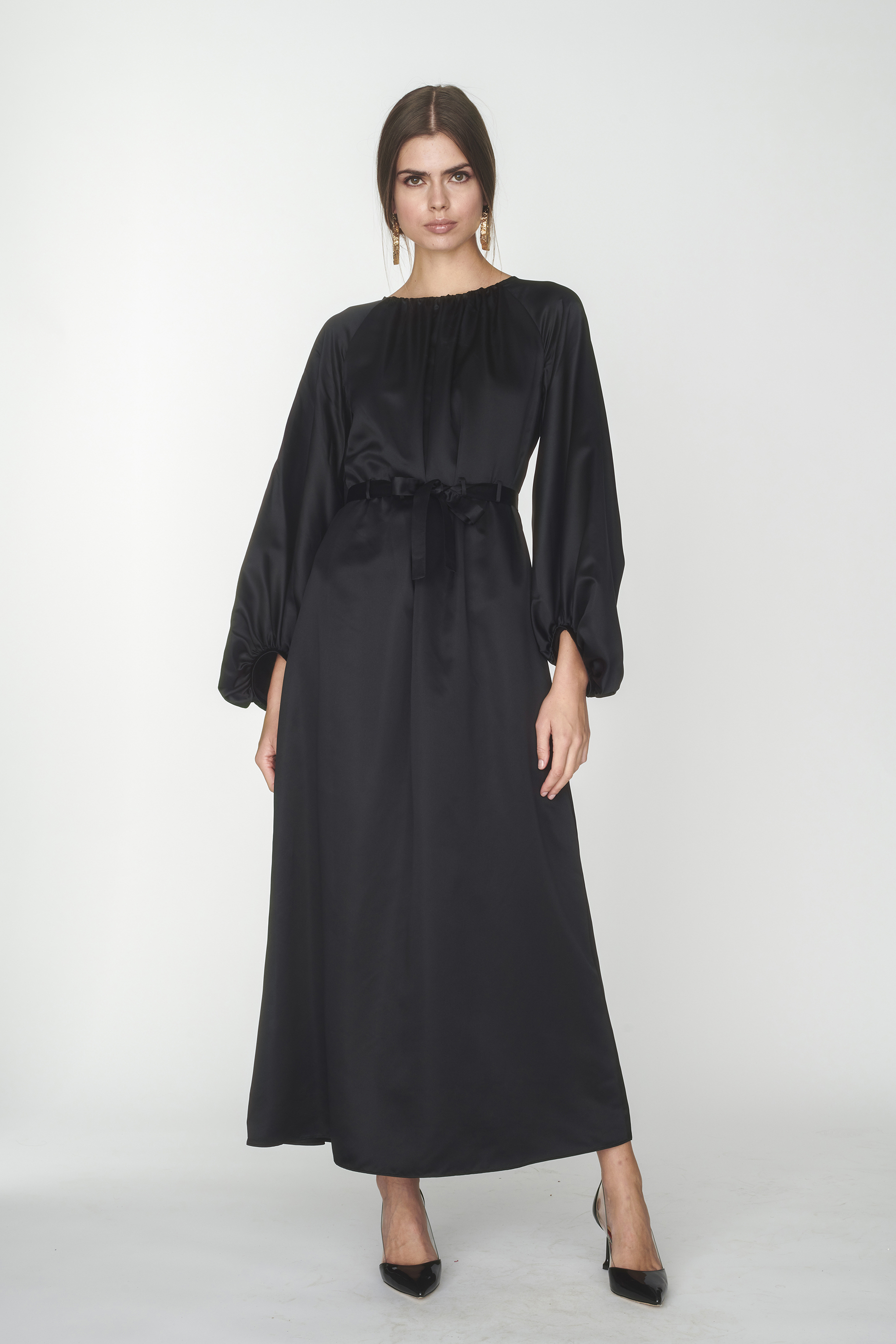 Lace embellished long robe