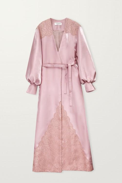 Lace embellished blush long robe