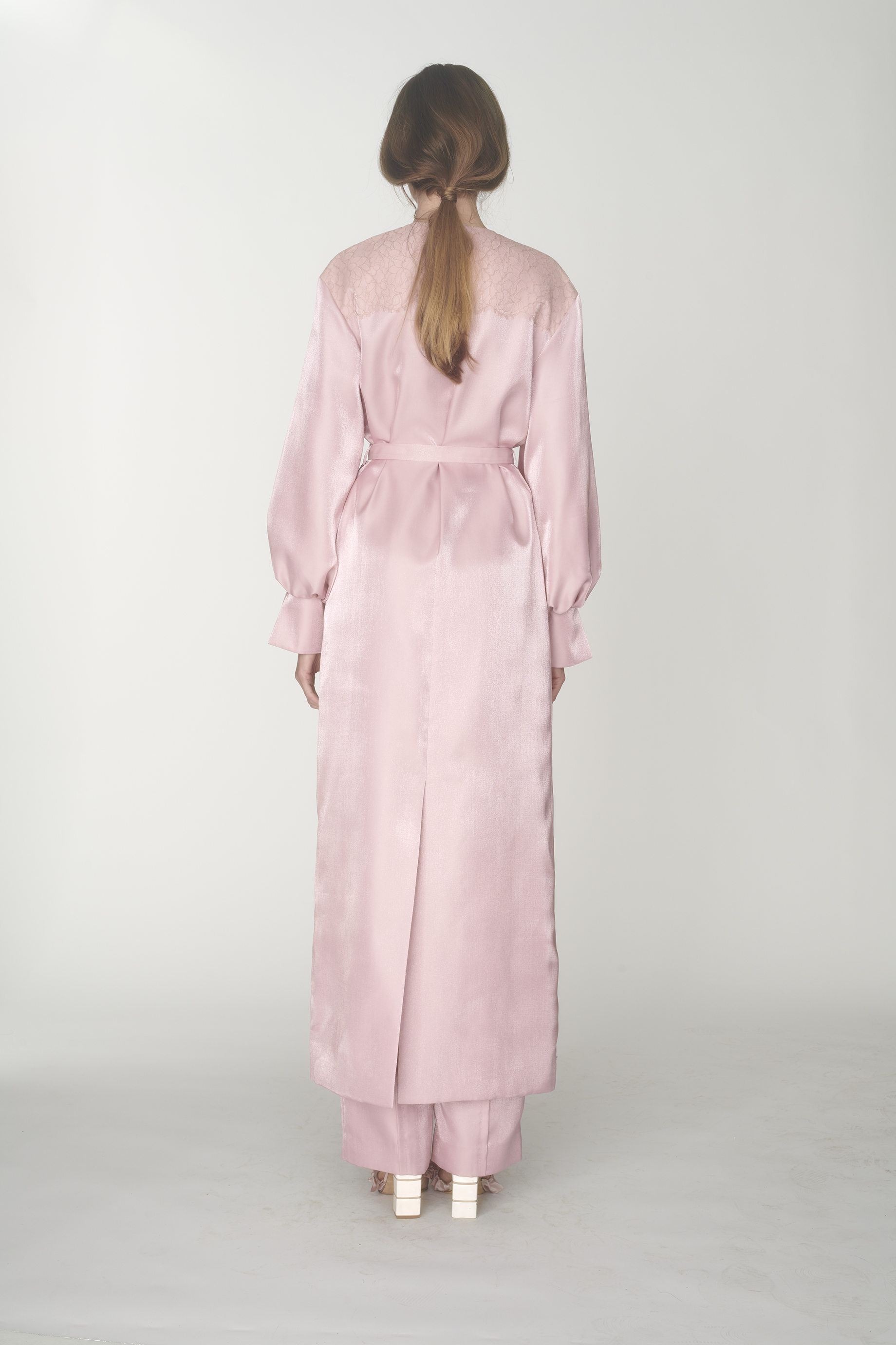 Lace embellished long robe