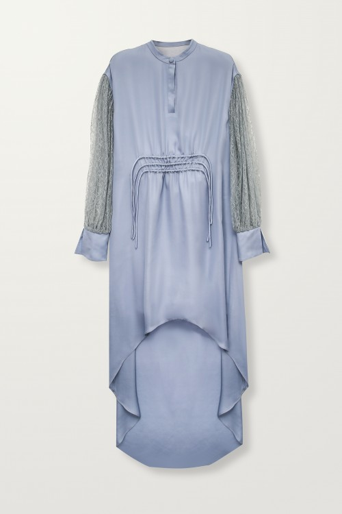 High-low blue lace sleeves dress