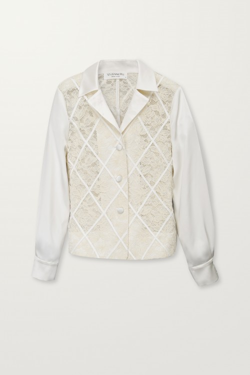 Diamond panel ivory jacket