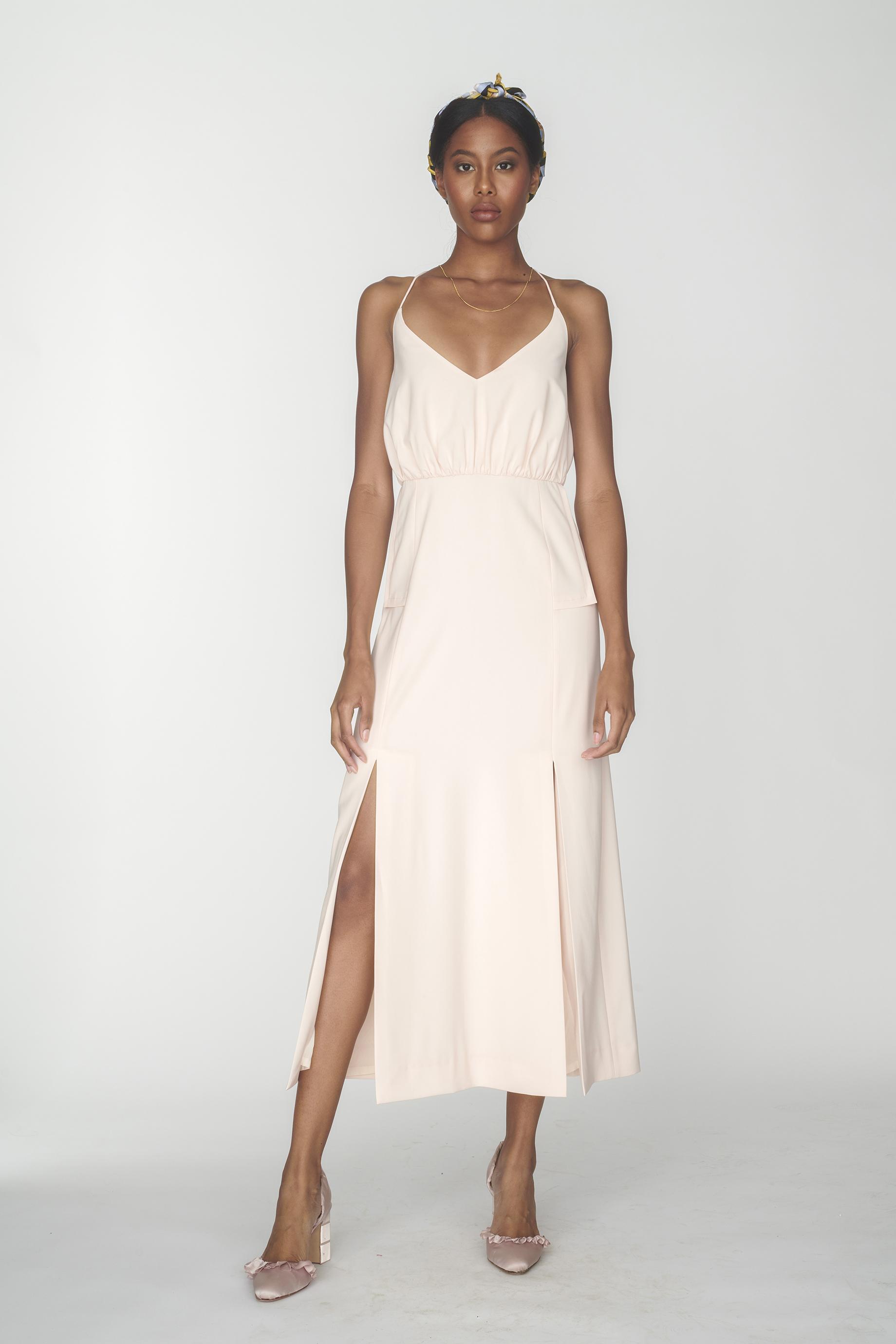 Crossed back strap sleeveless dress