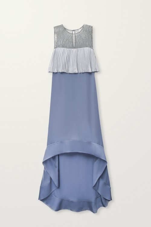 High-low pleated top dress