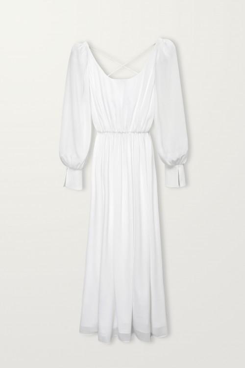 Crossed back strap long sleeve dress