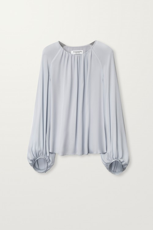 Neck gathered balloon sleeve top