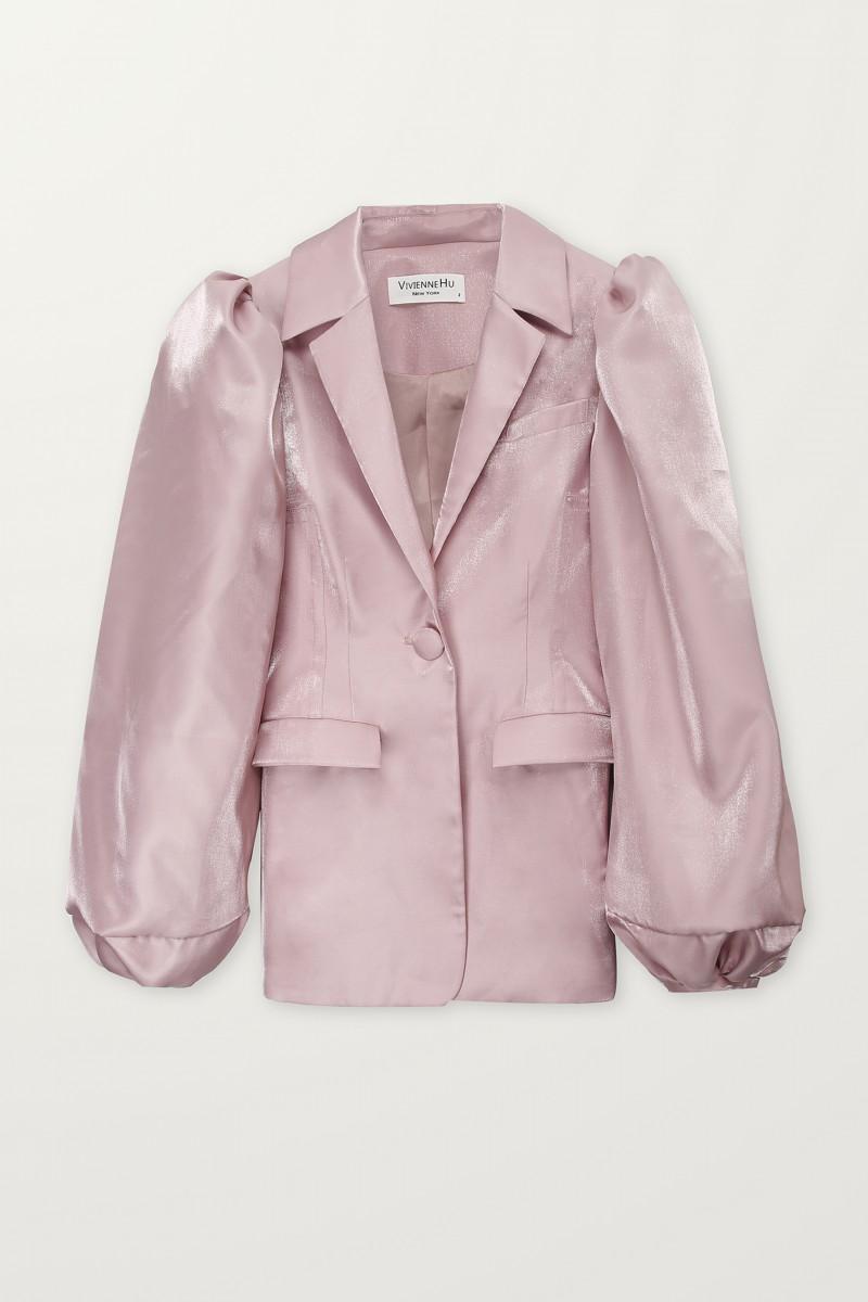 shiny pink bomber jacket