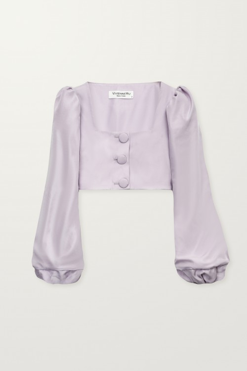 Balloon sleeve short jacket