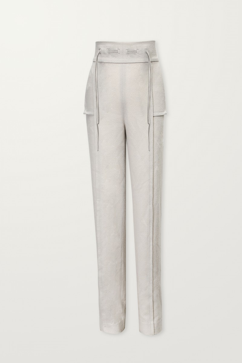 Warm gray trouser with drawstrings