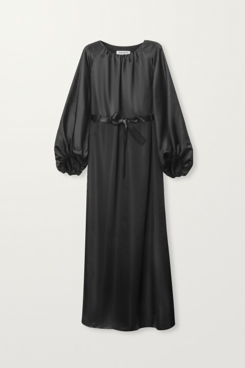Balloon sleeve long black dress