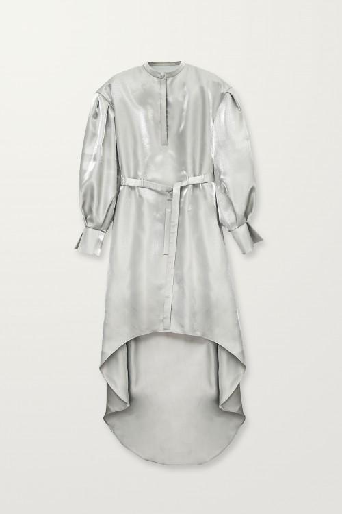 High-low silver shiny dress