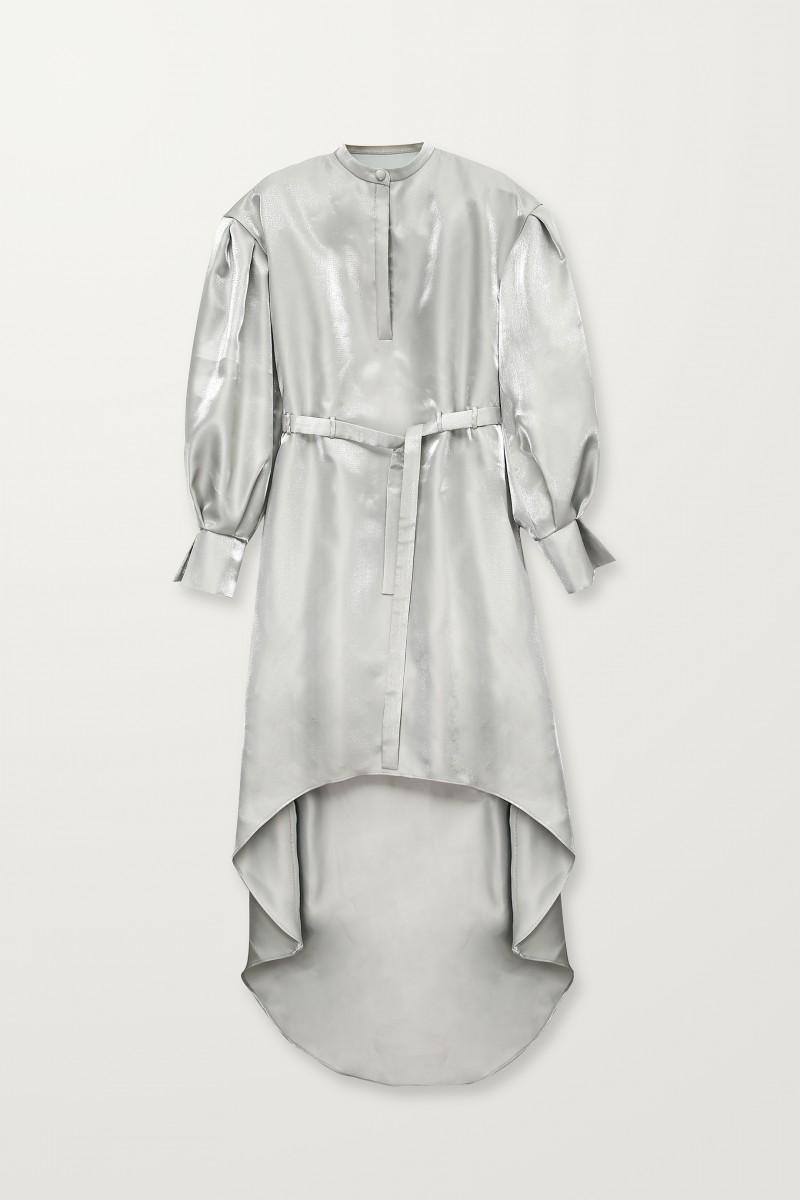 silver high low dress