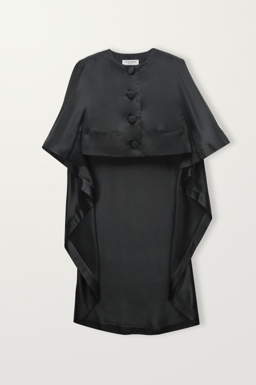 High-low black cape