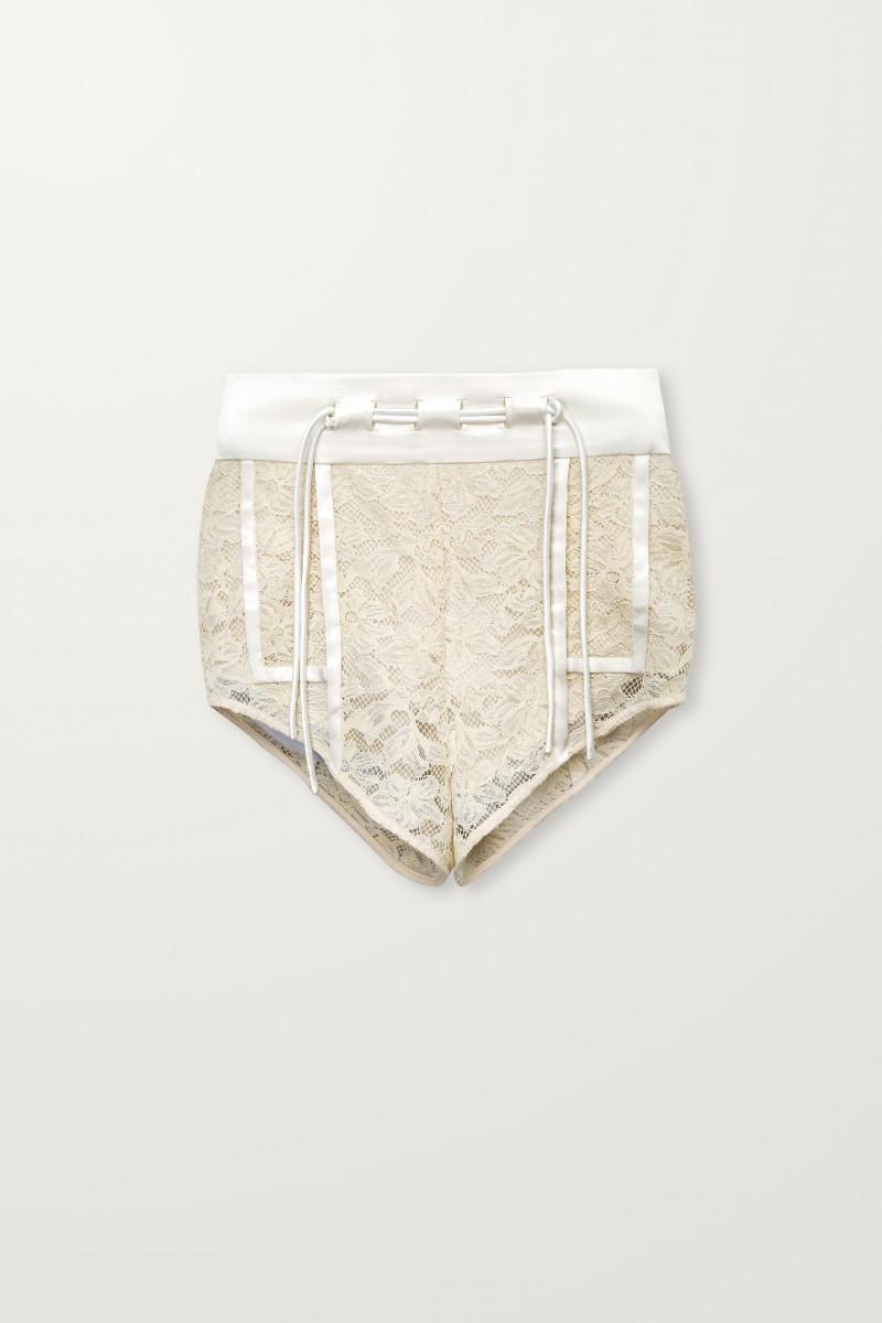 Greige lace shorts
