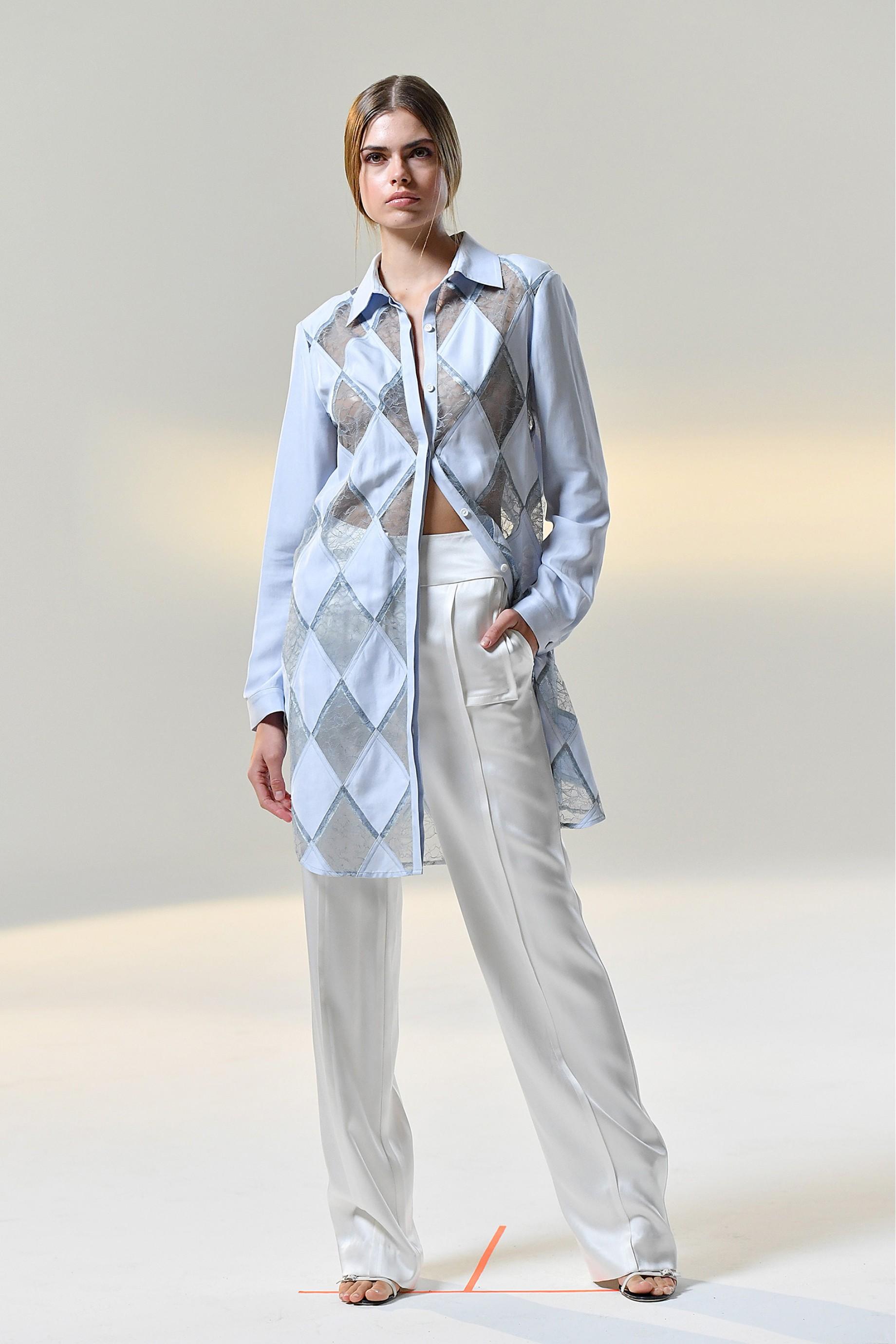 Diamond panel long shirt