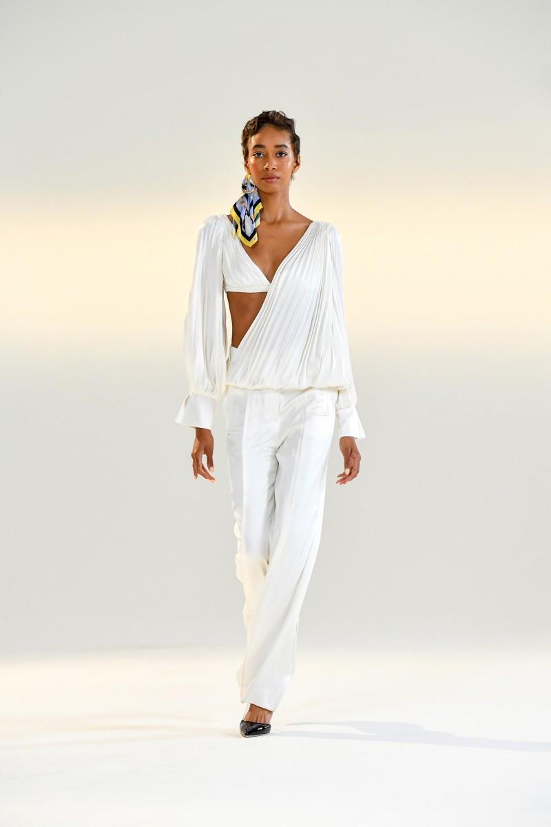 women's white silk pants