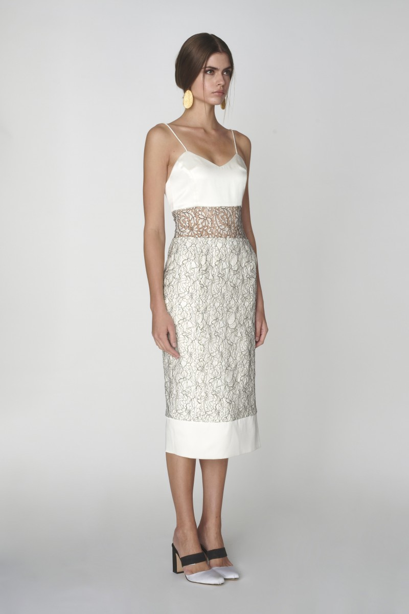White Lace Fitted Dress With Black Corded