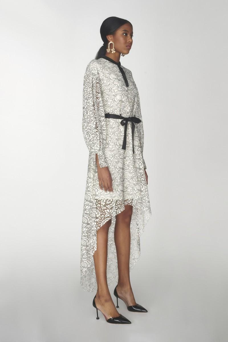 black lace high low dress