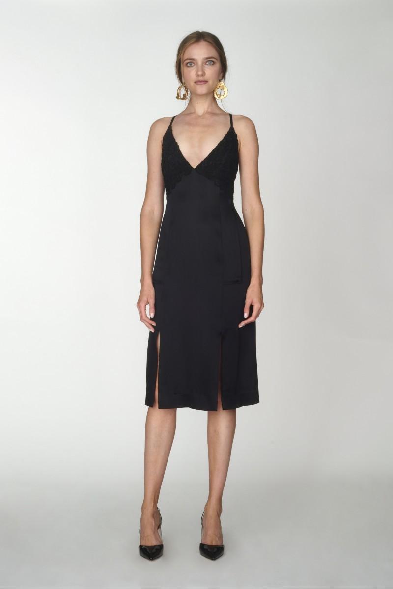 black cross strap dress