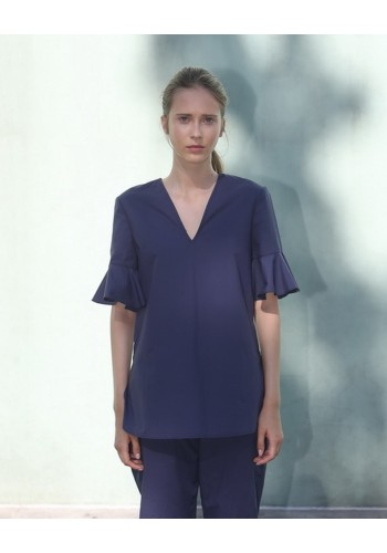 Cobalt Ruched Sleeve Top