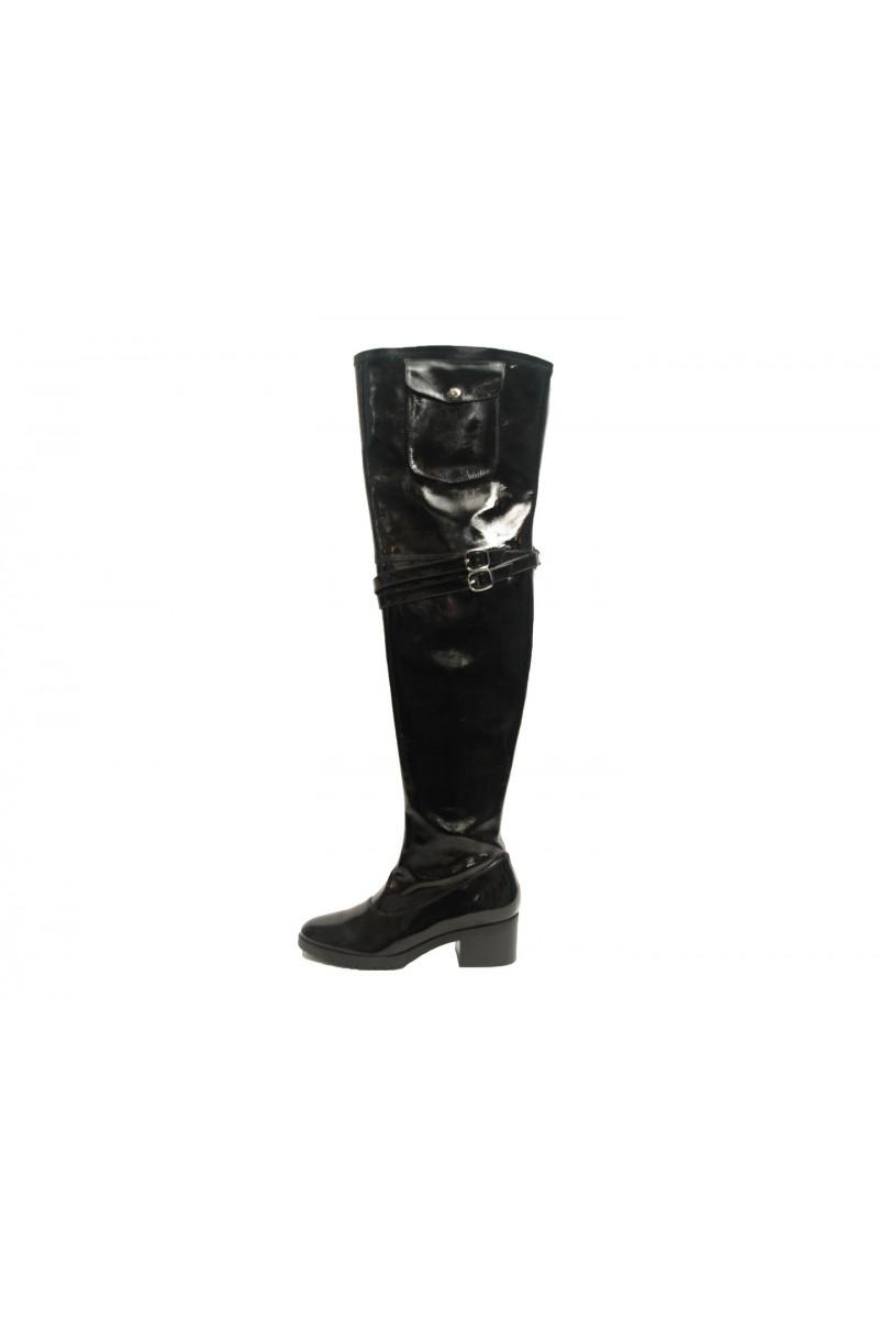Black Gold Patent Boot