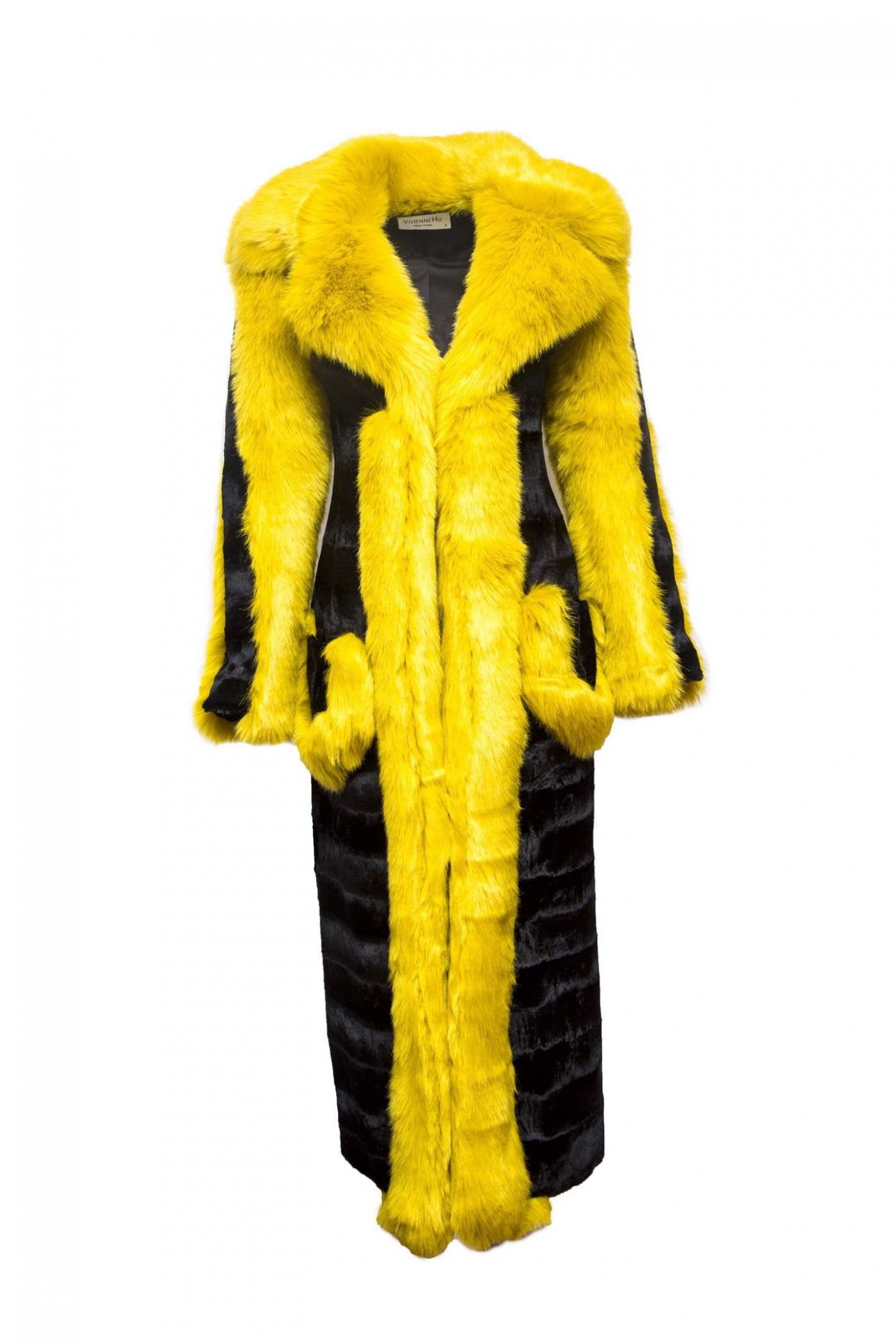 Fur Coat with Contrasting Lapel