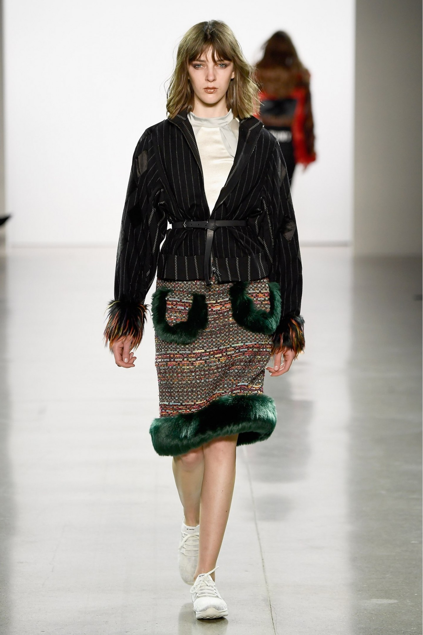 Tweed Skirt with Fur Trim on Pocket and Hem