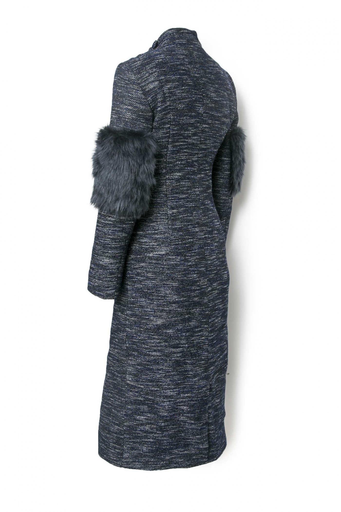 Textured Coat with Fur Sleeve Detail