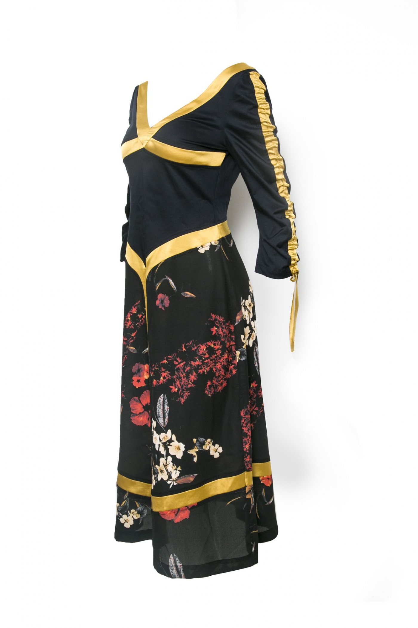 Dress with Gold Trim and Floral
