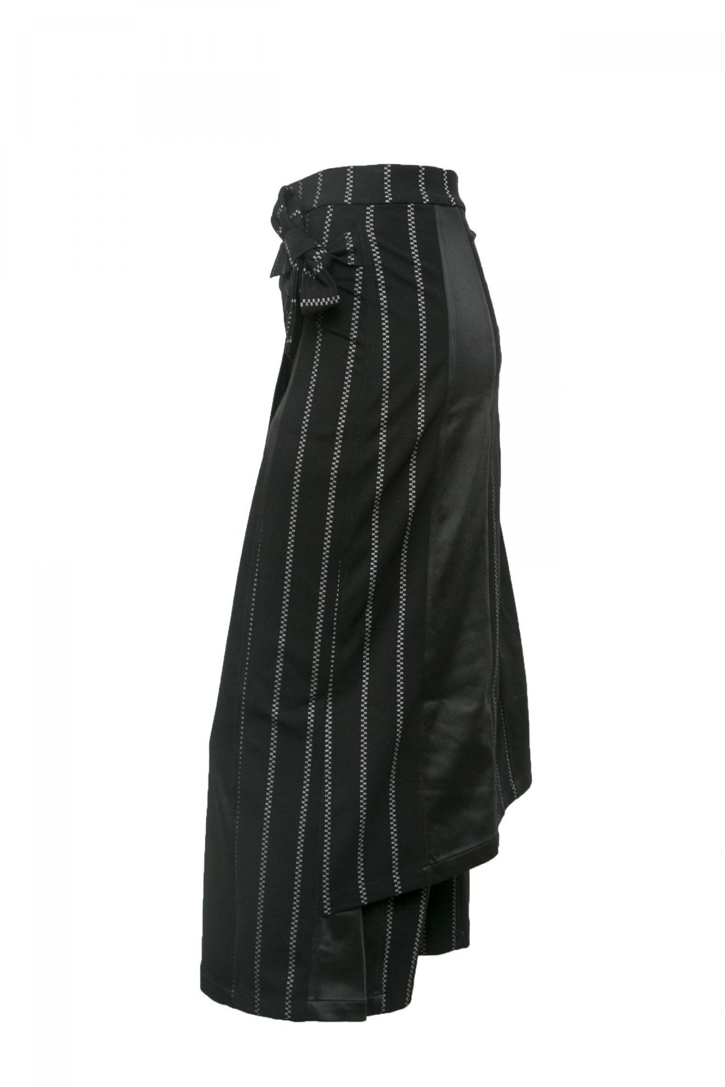 Asymmetric Wrap Skirt w./ Leather